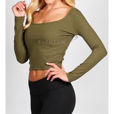 Olive Green Finely Ribbed Crop Top • S M L Long Sleeve Ribbed Crop Top  Available in sizes S, M, and L in my closet Available in Black, Olive, and White colors Model is 5'5 modeling S Fits TTS but is intended to have a snug fit 75% Poly 25% Cotton ✅Bundles are discounted!✅ No trades No PP Katana Couture Tops Crop Tops