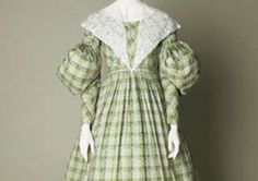 Early 19th century fashion: day dress, printed cotton, about 1830-36.