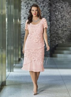 Mother of the Bride Dresses - $132.69 - Sheath/Column Scoop Neck Knee-Length Chiffon Lace Mother of the Bride Dress With Beading (0085097336)