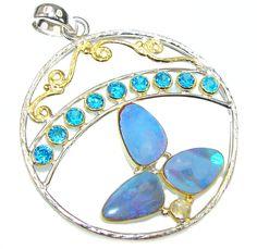 $65.95 Blue Secret Talisman! Fire Opal Topaz Sterling Silver Pendant at www.SilverRushStyle.com #pendant #handmade #jewelry #silver #opal