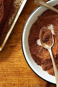 NYT Cooking: Here is a rub that provides a fast, flavorful coating for barbecue: beef, pork, chicken, lamb, venison.It calls for the process known as indirect grilling, in which you build a fire on one side of your grill and cook on the other, so that the meat is never in direct contact with flame. (If yo... Seasoning Mixes, Oxtail Seasoning Recipe, Venison Dry Rub Recipe, Lamb Rub Recipe, London Broil Recipes, Smoked London Broil Recipe, Spice Rub, Spice Mixes, Spice Blends