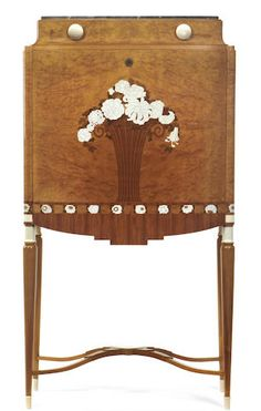 Manner of Jules Leleu A burr ash, maple, tulipwood, kingwood and ivory marquetry Art Deco secretaire Unusual Furniture, Art Deco Furniture, Fine Furniture, Furniture Styles, Furniture Design, Machine Age, French Empire, Art Deco Period, Milling