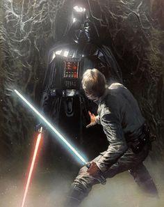 Luke Skywalker Vs Darth Vader In Degobah - Sun Tutorial and Ideas Star Wars Jedi, Star Wars Saga, Star Wars Fan Art, Luke Skywalker, Anakin Dark Vador, Film Sf, Starwars, Disneysea Tokyo, Jedi Sith