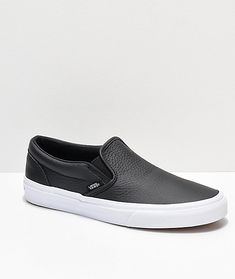 4ad97f907f Vans Slip-On Black Tumbled Leather Skate Shoes