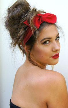 Rockabilly Headband Fireman wife Red  Wired Dolly Bow PIN UP Fabric Headwrap Bandana