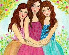 Three Sisters Art Print Three Best Friends Three by Sascalia Sisters Drawing, Sisters Art, Three Sisters, Best Friends Sister, Three Best Friends, Art Picasso, Girl With Brown Hair, Drawings Of Friends, Childrens Wall Art