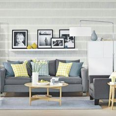 Gray sofa and frames