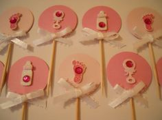 Set of 12 Girl Baby Shower Cupcake Toppers Pink by iluvmarin, $12.00