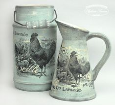 Ozdabiamy dzbanek- krok po kroku Decopage Furniture, Teapot Crafts, Painted Milk Cans, Painted Flower Pots, Decoupage Art, Egg Crafts, Repurposed Items, Country Crafts, Coq