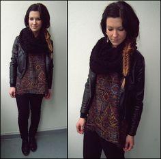 Leather jacket, scarf, tank, & jeans.