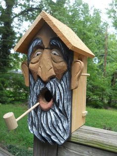 Birdhouse,wood spirit carvings. folk art 2 nests bird house OOAK bird wizard