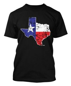 Distressed Texas Map Men's T-shirt Tee (Small, BLACK)
