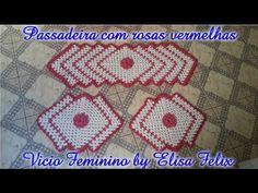 Jogo de cozinha passadeiras em crochê rosa vermelha # Vício Feminino by ...