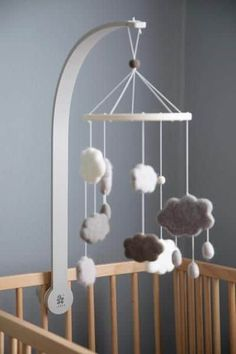 Baby Crib Mobile for Boys and Girls Space Modern Unisex Wool Woodland Star Moon Cloud Airplane Baby Shower Gift Set Nursery Decor Infant Room Hanging Decoration Toy Newborn Registry