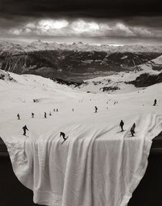 skiers on sheets? they're surreal photo montages by photographer thomas barbey.
