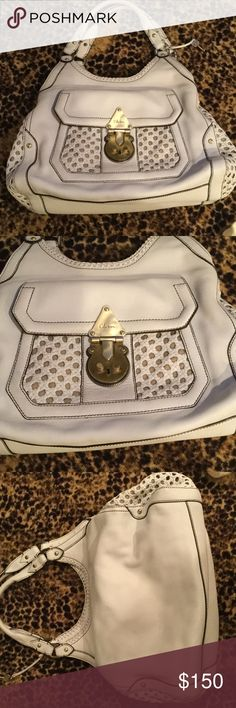 Cole Haan handbag White with black stitching and brass hardware. Excellent condition, extremely clean Cole Haan Bags Shoulder Bags
