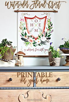 Use this Watercolor Floral Crest Printable to update your home for Spring. Free printable download in 2 sizes. Watercolor Floral Crest Printable is free.