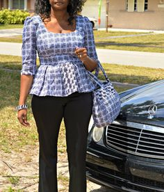 Black And White Blouse Ankara Print Blouse African by ZabbaDesigns, $30.00