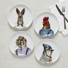 Dapper Animal Plates #westelm