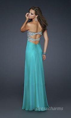 A-Line Chiffon Strapless Long Dress Charm89205