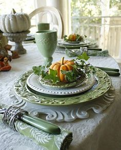 Use shades of green in your upcoming table setting! #tablesetting #thanksgivinghues #thanksgiving #holidays #cabinetstogo
