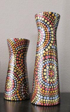 #ThePaintedCabeza ~ Hand Painted Polka Dotted Dots Black Wooden by ThePaintedCabeza