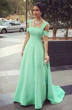 91582966f0a Mint Green Off Shoulder Long Prom Dresses Evening Dresses - not exactly the  stylr you want