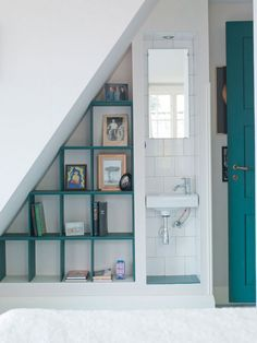 Organization for small spaces / under the stairs cubby shelves