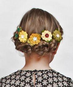 Felt Flowers Flower Hair Clips set of three YOU by giddyupandgrow, $20.00