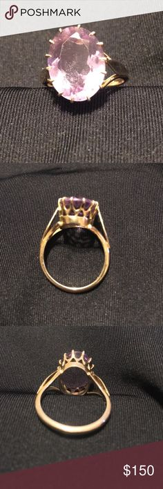 Size 9 vintage Amethyst ring 9k yellow gold Vintage oval amethyst set in 9k yellow gold size 9 ring Jewelry Rings