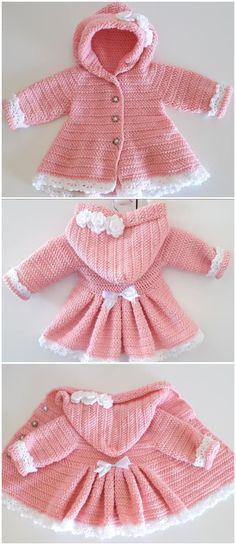 Crochet Baby Dress Pattern, Crochet Coat, Baby Girl Crochet, Crochet For Kids, Crochet Ideas, Crochet Baby Dresses, Crochet Dress Girl, Free Crochet, Crochet Patterns