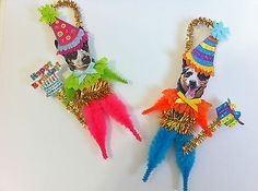 Australian cattle dog birthday #party #vintage #style chenille ornaments set of 2,  View more on the LINK: http://www.zeppy.io/product/gb/2/361547957123/