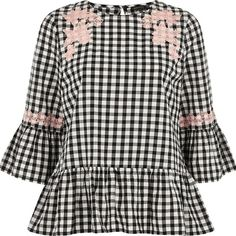 River Island Black gingham lace smock top ($34) ❤ liked on Polyvore featuring tops, blouses, black, ri limited edition, sale, women, gingham tops, smocked blouse, flared sleeve blouse and lace blouse