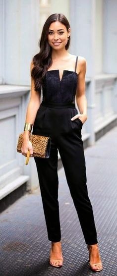 #street #style #spring #2016 #outfitideas | Black jumpsuit