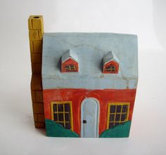 Vintage Carved Folk Art Wood House Hand Painted by NanNasThings