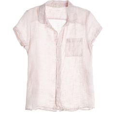 CP SHADES Harper Cap Sleeve Linen Blouse ($139) ❤ liked on Polyvore featuring tops, blouses, shirts, pink button down blouse, pink shirt, pink top, pink button up blouse and shirts & blouses
