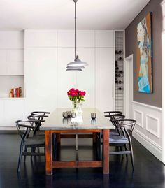 dinning to match nice kitchen. marble topped table and cafe style chairs.