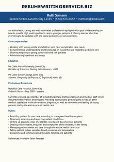 pediatric nurse resume sample - Resume Samples For Nursing Students