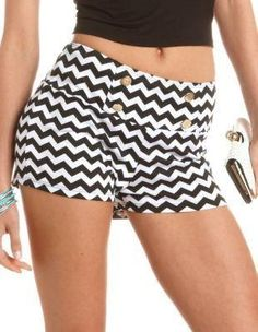 @Charlotte Carnevale Russe Black and White Sailor Shorts With Chevron Stripe Print. http://zodiacfashion.blogspot.com/