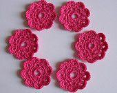 6 x Crochet Mini Doilies, Handmade Crochet Embellishment, Small Crochet Doilies, Hot Pink,  Appliques - set of 6