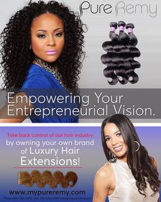 Are You a Hair Stylist, Hair Salon owner or Entrepreneur looking for a way to add to your income or extend your business..??? Start your own hair line or custom branded hair line with the My Pure Remy Pro or Pro Plus Plan. www.mypureremy.com #mypureremyhair #mypureremy #hairbusiness #entrepreneurs #hairindustry #hairextensions #remyhair #hairstylists Hairmagazines MyPureRemy Hair