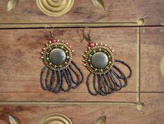 Hecate hematite beaded drop earrings by SassafrasFox on Etsy