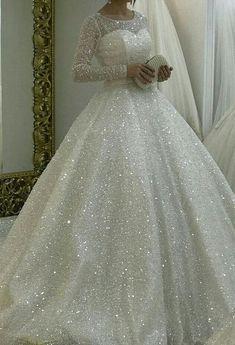 Sparkly White Wedding Dresses Bridal gown Prom Dresses