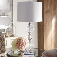 Clear Glass Lamp - Chrome Silver Finish - Pier One