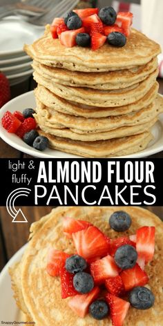 Recipes Gluten Free ALMOND FLOUR PANCAKES - quick and easy gluten-free pancake recipe for light and fluffy pancakes! Almond Pancakes, No Flour Pancakes, Gluten Free Pancakes, Pancakes Easy, Oat Muffins, Gluten Free Baking, Healthy Baking, Gluten Free Recipes, Gluten Free Breakfasts