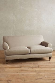 Anthropologie Linen Willoughby Settee, Hickory