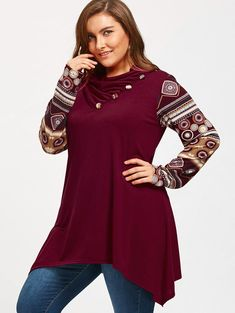 54598af514409 PlusMiss Plus Size 5XL Heaps Collar Vintage Ethnic Blouse Shirt Women  Autumn Winter 2017 Long Sleeve