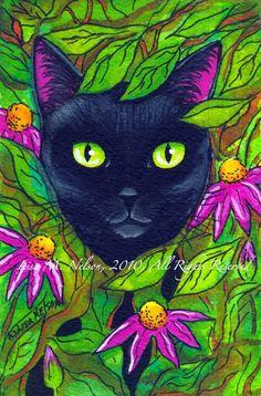 Black Cat in the Garden PRINT of my Original by BucksCountyDesigns, $10.00