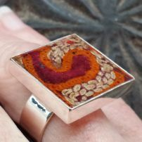 JMAJ Afghan embroidery Square Ring. $84 Square Rings, Christmas Shopping, Ants, Statement Jewelry, Goodies, Dec 12, Ceramics, Popup, Don't Forget