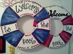 life preserver Welcome sign door hanger for pool area/ pool house. Or Lake house, monogram can be changed Weclome to the River,